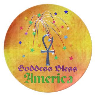 Gudinnan välsignar Amerika Tallrik