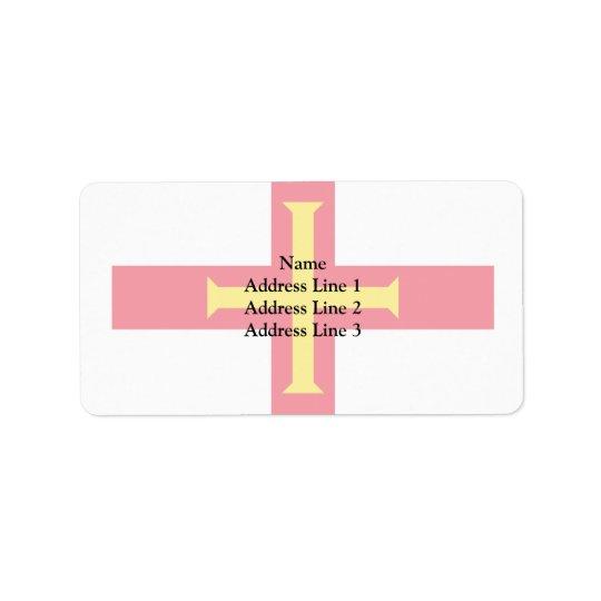 Guernsey Guernsey flagga Adressetikett