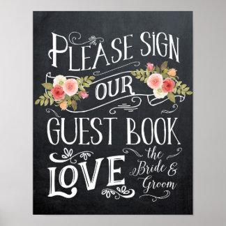 guestbookbröllop undertecknar typografiblommigt poster