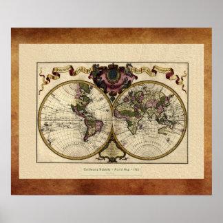 """Guillaume DeLisle"" Olde Worlde kartaaffisch 1720 Poster"