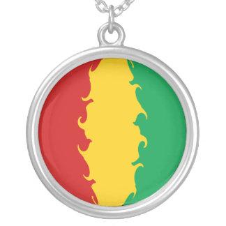 Guinea Conakry Gnarly flagga Halsband Med Rund Hängsmycke