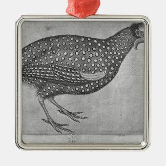 Guinea fågel, från det Vallardi album Julgransprydnad Metall