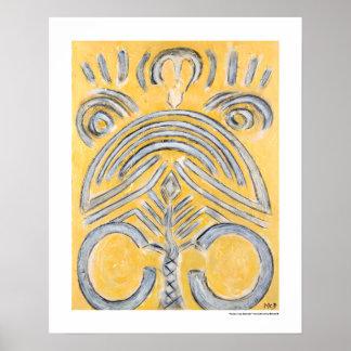 Gul abstrakt - gula guld- målninggåvor skrivar ut poster