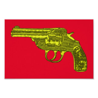 Gul affisch för pistolpopkonst poster
