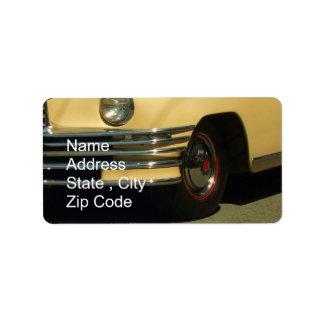 Gul bil för klassiker adressetikett