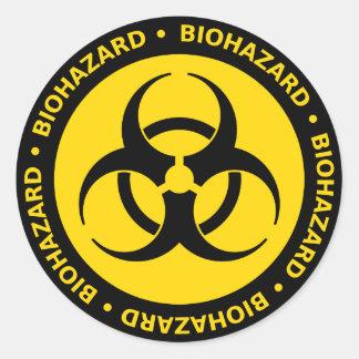 Gul Biohazardsymbolklistermärke Runda Klistermärken
