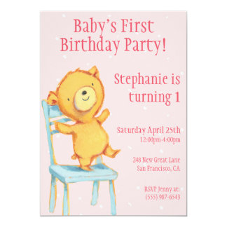 Gul björnfödelsedag 12,7 x 17,8 cm inbjudningskort