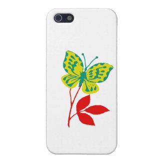 Gul & blåttfjäril på nedgånglövverk iPhone 5 fodral