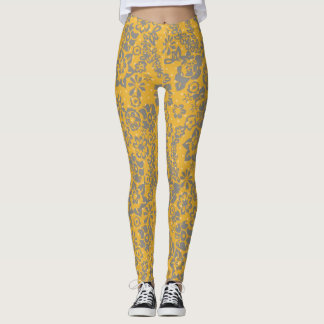 Gul blom- damasker leggings