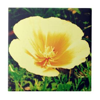 Gul blomma liten kakelplatta