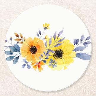Gul blommigt & blåttvattenfärgblommor - bröllop underlägg papper rund