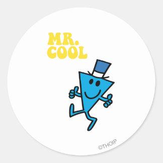 Gul bokstäver för Herr coola   Runt Klistermärke