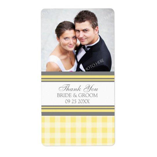 Gul bröllopsetiketter för grå färgGinghamfoto Fraktsedel