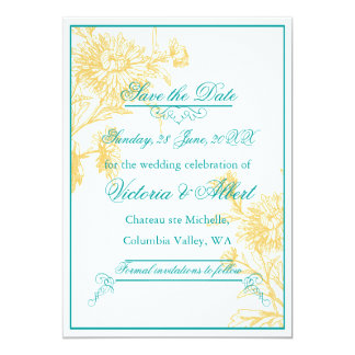 Gul daisybröllopinbjudan 12,7 x 17,8 cm inbjudningskort