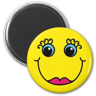 Gul damsmiley face magnet rund 5.7 cm