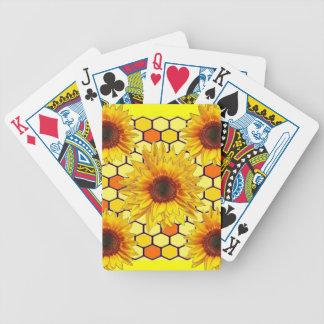 Gul design för solroshonunghårkam spelkort