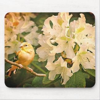Gul Finch med blommor - Musmatta