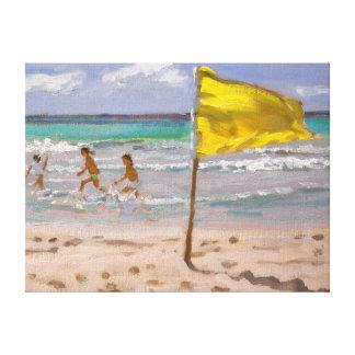 Gul flagga Barbados 2010 Canvastryck