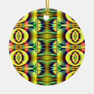 gul fractal julgransprydnad keramik