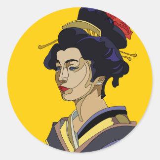 Gul Geisha Runt Klistermärke