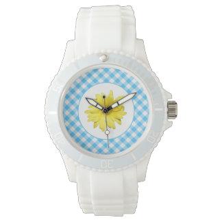 Gul Gingham för daisyturkosvit Armbandsur