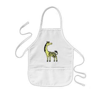 Gul giraff med svart fläckar barnförkläde