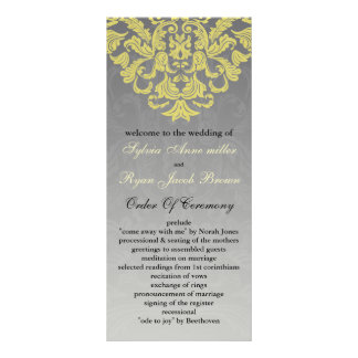 """""""gul grå"""" bröllopsprogram rackkort med full färg"""
