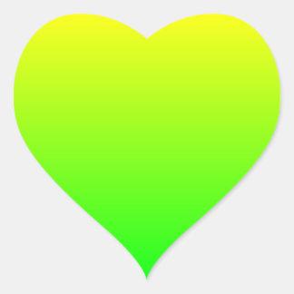 Gul grön lutning hjärtformat klistermärke