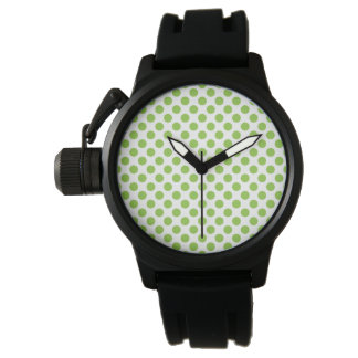 Gul grön polka dots armbandsur