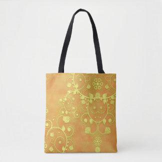 Gul guld- damast för orangefinareblommigt tygkasse