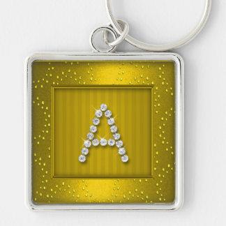 Gul guld- Shimmer och gnistra med monogramen Fyrkantig Silverfärgad Nyckelring