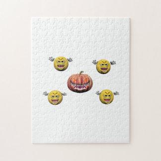 Gul halloween emoticon eller smiley pussel