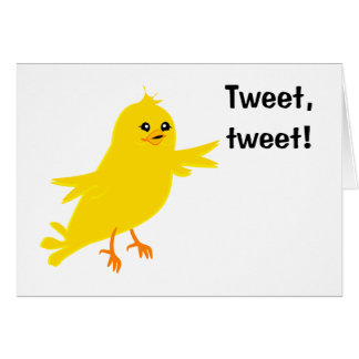 Gul kanariefågel hälsningskort
