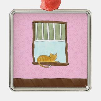 Gul kattunge i en fönsterprydnad julgransprydnad metall