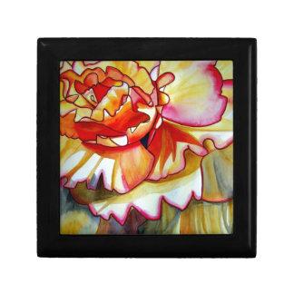 Gul konst för original för Begoniablommaakvarell Smyckeskrin