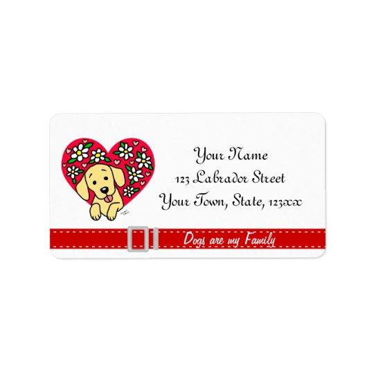Gul lab hjärta för mammatecknadblommigt adressetikett