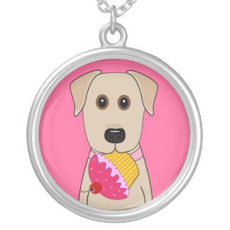 Gul lab med rosa muffin silverpläterat halsband