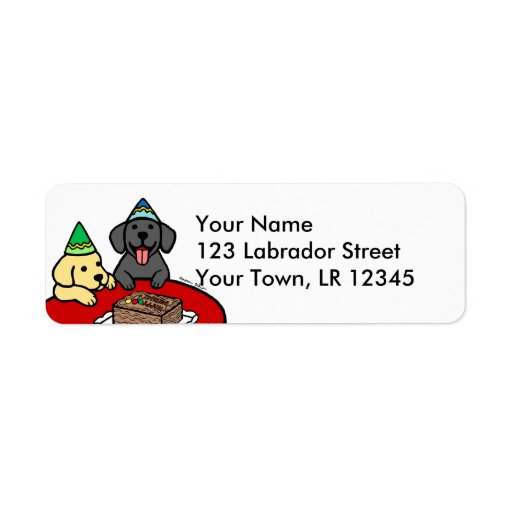 Gul lab & svart lab födelsedag returadress etikett