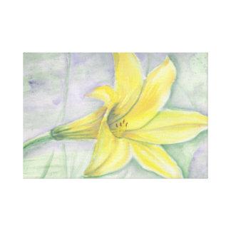 Gul liljamålning i akryl canvastryck