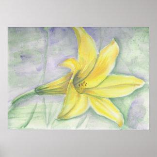 Gul liljamålning i akryl poster