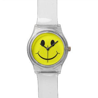 Gul lycklig klocka för Lucite för smiley face70-ta