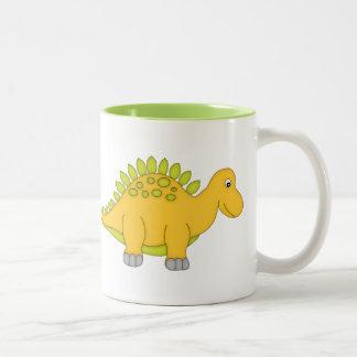 Gul och grön Dinosaur+Personifiera namn Två-Tonad Mugg
