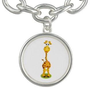 Gul och orange lycklig tecknadgiraff berlockarmband