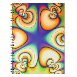 Gul och purpurfärgad fractal anteckningsbok med spiral