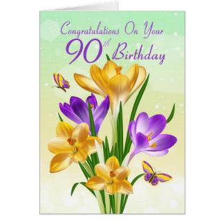 gul och purpurfärgad krokus för 90:e födelsedag hälsningskort