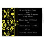 Gul och svart damastast bröllopinbjudan kort
