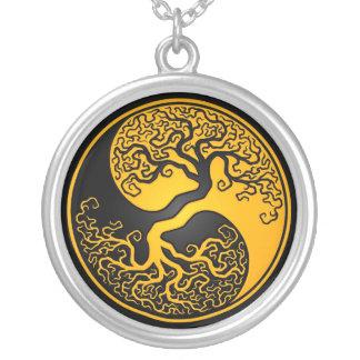 Gul och svart livets träd Yin Yang Silverpläterat Halsband