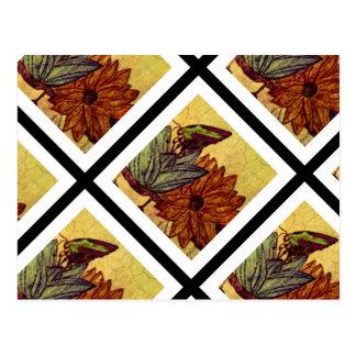 Gul och svart vykort för kanariefågel