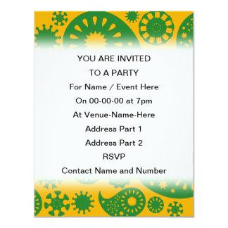 Gul Paisley för grönt och för bärnsten modell 10,8 X 14 Cm Inbjudningskort