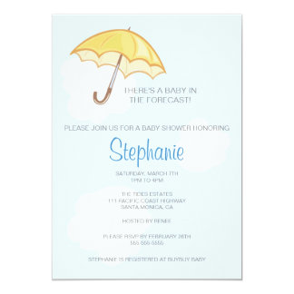 Gul paraplybaby showerinbjudan 12,7 x 17,8 cm inbjudningskort